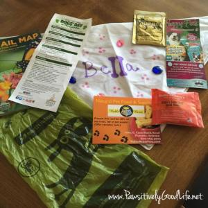 Bella's bandana along with the cool information & free samples given!